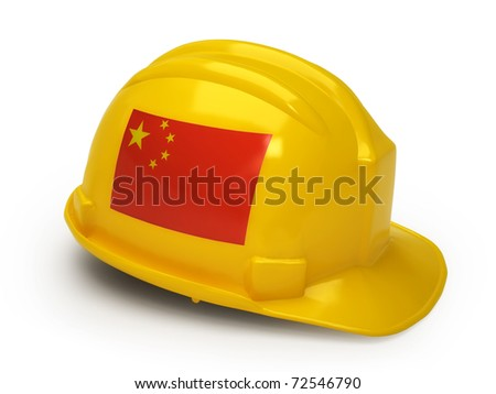 Chinese flag on construction helmet