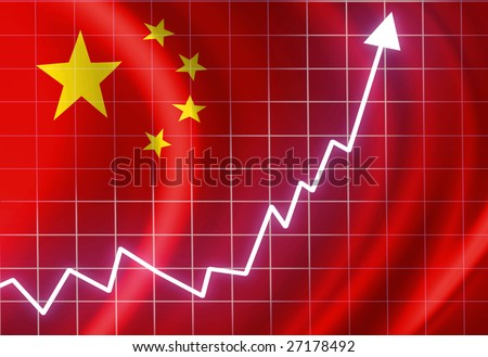 Chinese flag waving in the wind: growth