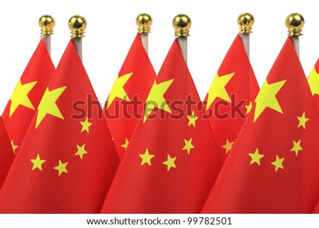 Chinese flags hanging on the gold flagpole, Isolated on the white background