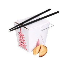 chinese food box container with fortune cookie and chopsticks isolated on white background