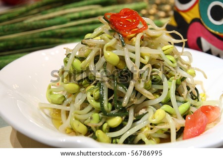 Chinese food dish,Main ingredient of the bean sprouts, soybeans, cucumbers, tomatoes,. Vinegar.