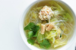 Chinese food, dried scallop and meat ball with glass noodles soup for homemade comfort food