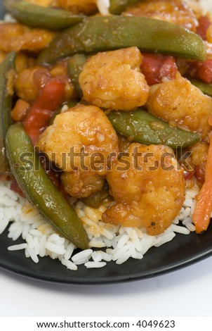 chinese food general tsao shrimp with vegetables and rice