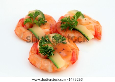 Chinese food, gourmet tiger king prawns served with a garnish with copy space, isolated on white