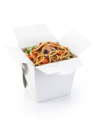 Chinese food. Noodles with vegetables and mushrooms isolated on white background. Opened take out box.