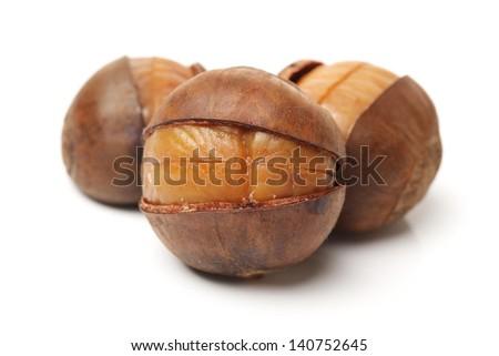 chinese food, peeled roasted chestnut on white background