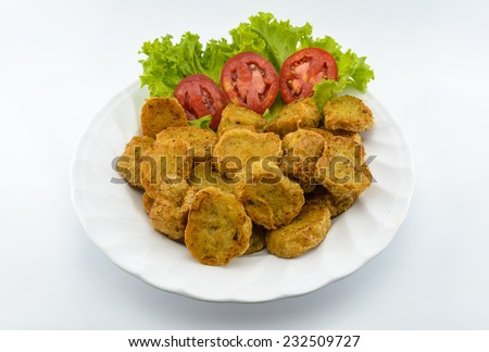 Chinese food restaurant fried food on White background