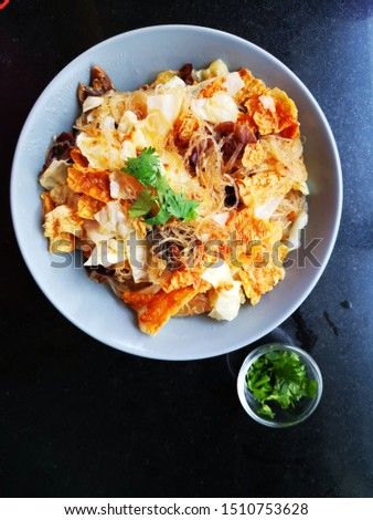 Chinese food. Stir fry bean noodle, tofu, mushroom, cabbage, vegetable. Topview