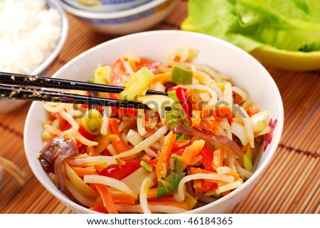 stock photo : chinese food with various vegetables and rice