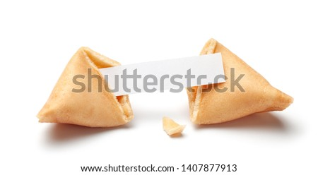 Chinese fortune cookies. Cookies with empty blank inside for prediction words. Isolated on white background ストックフォト ©