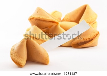 Chinese fortune cookies, on white background, with a white piece of paper for entering own text/fortune