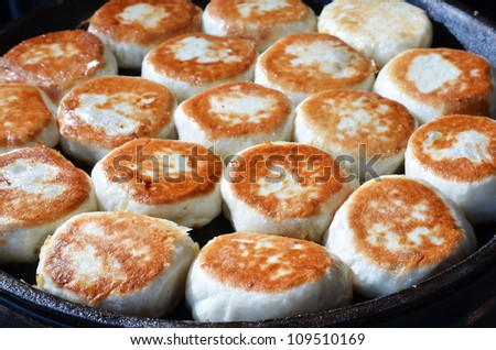 Chinese fried bun on white background