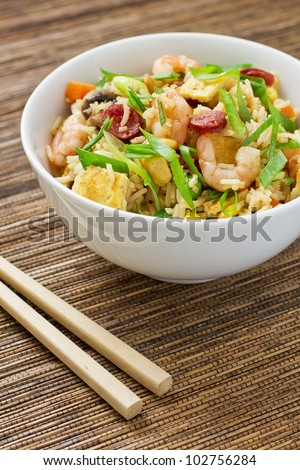 Chinese fried rice served in a bowl