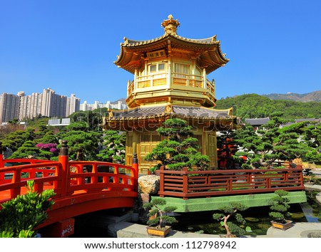 chinese garden with pavilion