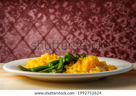 Chinese garlic string beans with yellow fried rice