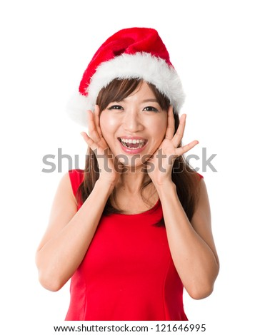 chinese girl celebrating christmas scream
