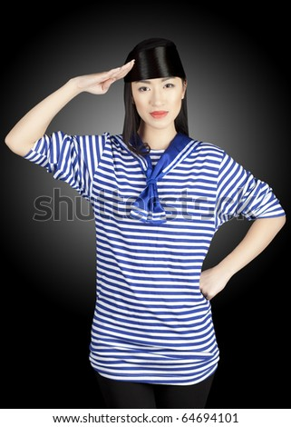 chinese girl sailor  gesturing to the camera on the black background