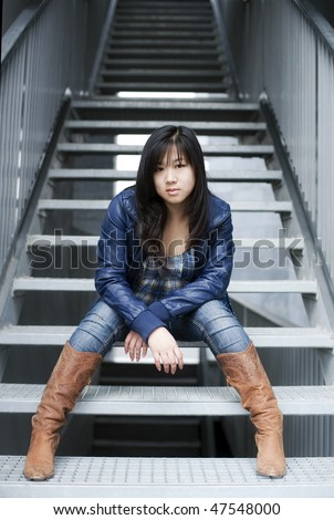Chinese girl wearing modern clothes