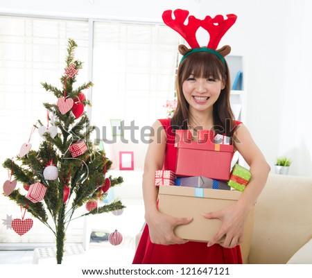 chinese girls celebrating christmas
