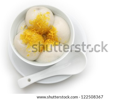 Chinese glutinous rice balls with chrysanthemum petal on top with clipping path