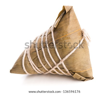 Chinese Glutinous Rice Dumpling on white background.