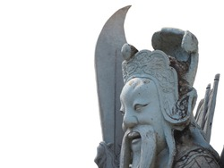 Chinese god statue on a isolated white background.