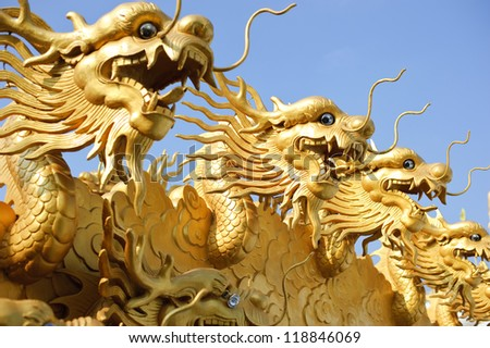 Chinese gold dragon symbol.