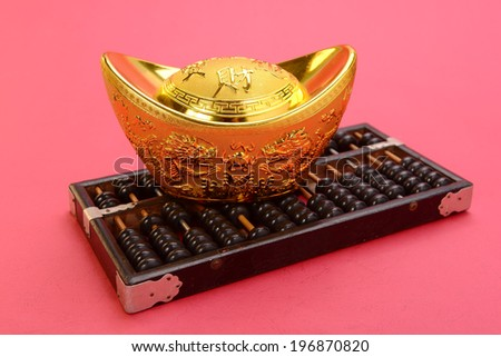 Chinese gold ingot and abacus mean symbols of wealth and prosperity