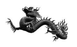 Chinese golden black dragon isolated on white with clipping path. Traditional chinese black dragon isolated on white background. Feng Shui statuette.