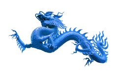 Chinese golden blue dragon isolated on white with clipping path. Traditional chinese blue dragon isolated on white background. Feng Shui statuette.