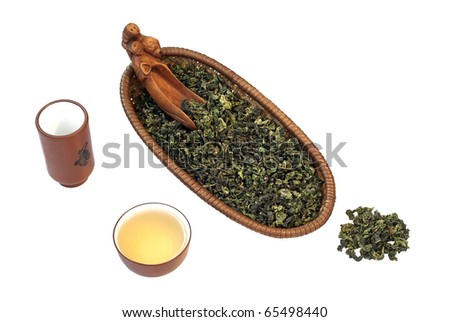 Chinese green tea Tieguanyin on the white background