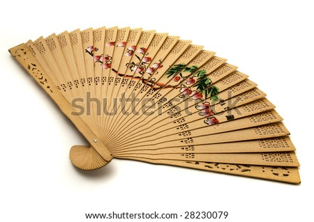 Chinese hand-held fan on a white background