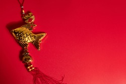 chinese happy new year holiday season greeting festival red background with gold luxury vintage oriental native hanging docoration, traditional happiness event concept