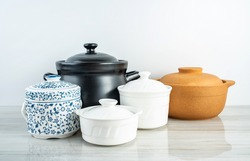 Chinese health soup ceramic stew casserole casserole background material