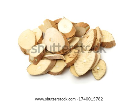 Chinese herbal medicine, Morus or White Mulberry dry branch (Sang Zhi) on the wooden board isolated on white background Photo stock ©