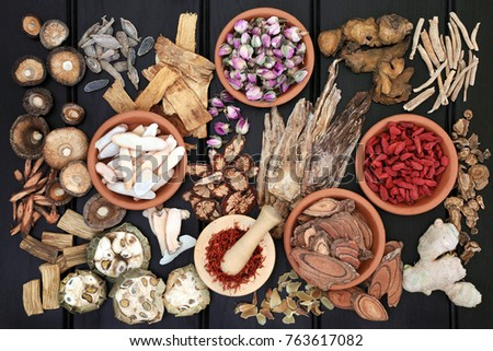 Chinese herbal medicine with herbs in terracotta bowls and loose with wooden mortar and pestle on dark wood background. Top view.