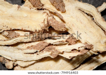 Chinese herbal medicines -- Angelica slices on stone background