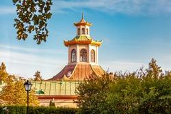 Chinese houses in Tsarskoe Selo and town of Pushkin, Leningrad region Golden autumn history of Russia tsarist Russia sky