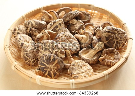 Chinese ingredient, dried mushroom in basket