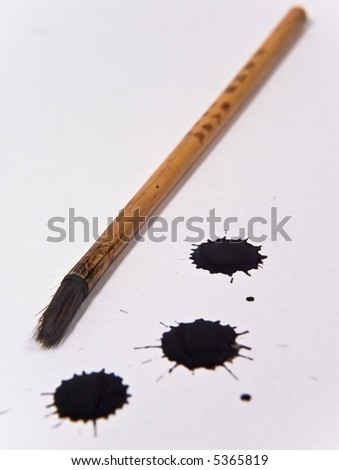 Chinese ink brush and ink drops