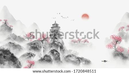 Chinese ink landscape painting Ink landscape painting Landscape illustration Oriental Art Ink and wash illustration Landscape background