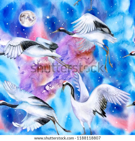 Chinese Japanese cranes fly in the sky. Birds in flight against the background of the night sky. Watercolor. Illustration. Template. Wallpaper. Hand drawn. Close-up. Clipart