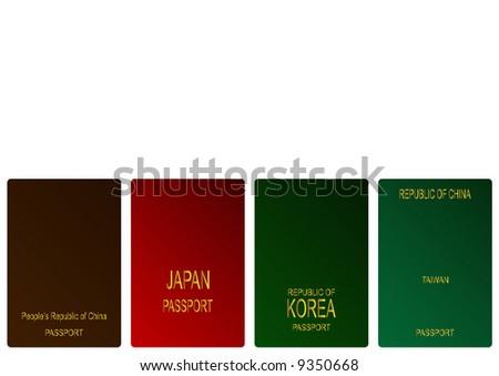 Chinese, Japanese, Korean and Taiwanese passports - stock photo