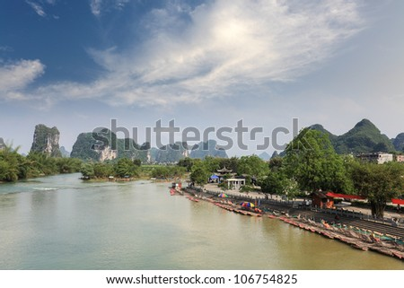 chinese karst mountain landscape in yangshuo,famous scenery of camel crossing the river