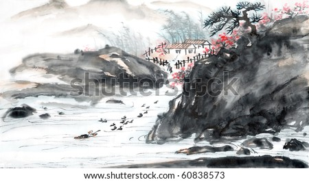 Chinese landscape painting. -Traditional ink and wash painting. - stock photo