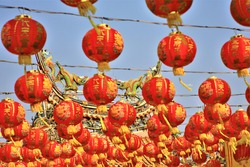Chinese lanterns during new year festival,two dragon on chinese temple,Five gods chinese temple ,Bang Pu,Thailand