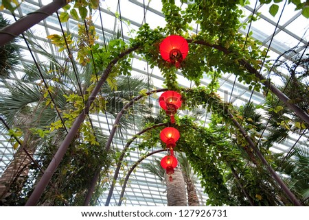 Chinese lanterns hanging under walkway within the flower dome of Gardens by the Bay, Singapore