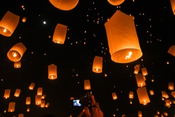 Chinese lanterns in the night sky