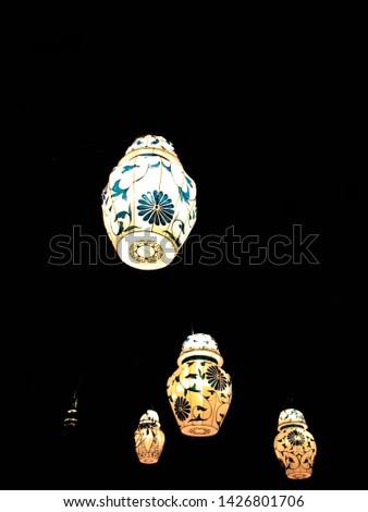 Chinese lanterns, white and blue, spring lantern festival.