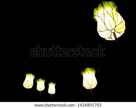Chinese lanterns, white and green, spring lantern festival.